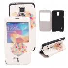 Elonbo J10H11 Protective PU Leather Case Cover Stand for Samsung Galaxy S5 - White + Yellow
