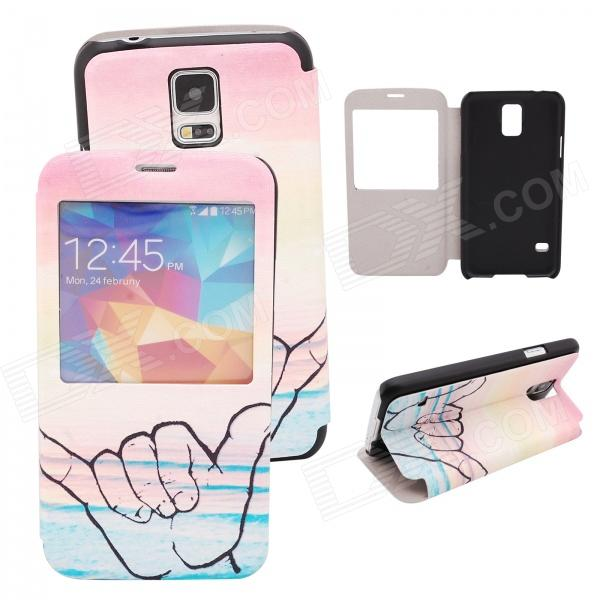 Elonbo J10H48 Gesture Design PU Leather Cover Case Stand for Samsung Galaxy S5 - Pink + Beige n j patil r h chile and l m waghmare design of adaptive fuzzy controllers