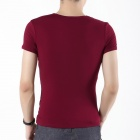 FENL B820-1 Men's Pure Cotton Letter Print Short Sleeved Round Neck T-Shirt - Wine Red (Size-L)