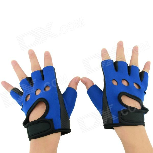 OUMILY Hot Non-slip Body Building Sports Cycling Half Finger Gloves - Black+ Blue (Free Size / Pair) body building sports cycling half finger gloves black grey pair size xxl