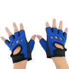 OUMILY Hot Non-slip Body Building Sports Cycling Half Finger Gloves - Black+ Blue (Free Size / Pair)