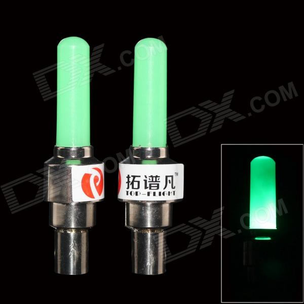 TOP-FLIGHT DIY Green Light Motorcycle / Bike Cranked Tire Valve Light - Green + Silver (3 x AG10) his bright light