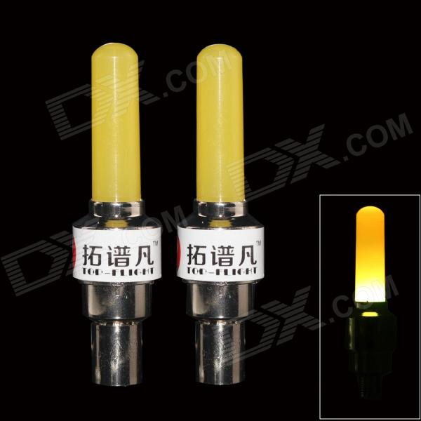 TOP-FLIGHT DIY Yellow Light Motorcycle / Bike Cranked Tire Valve Light - Yellow + Silver (3 x AG10) his bright light