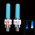 TOP-FLIGHT DIY Blue Light Motorcycle / Bike Cranked Tire Valve Light - Blue + Silver (3 x AG10)
