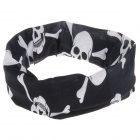 Stylish Skull Heads + Bone Pattern Outdoor Cycling Headcloth Kerchief Scarf - Black + White