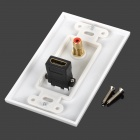 Wall HDMI + RCA Connector AV Socket Panel - White + Golden