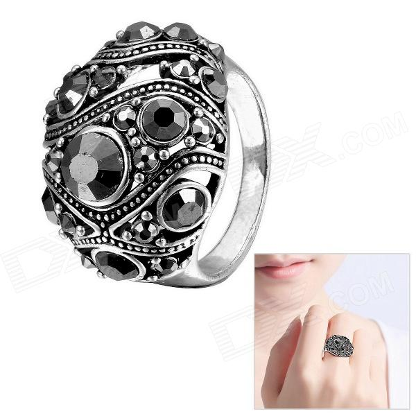 EQute Punk Style Rhinestone Women's Finger Ring - Silver Black (Size 8) rose style tin alloy rhinestone natural pearl finger ring sandy brown size 8