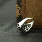 EQute Punk Style Rhinestone Women's Finger Ring - Silver Black (Size 8)