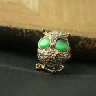 EQute Lovely Golden Owl with Pair of Green Eyes Finger Ring for Women - Golden + Green (Size 8)