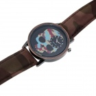 Skull Style Fashion Casual Unisex Quartz Wrist Watch - Camouflage Blue + Black (1 x 377)