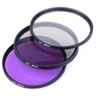 Universal 82mm UV + CPL + FLD Lens Filter for DSLR Camera - Black