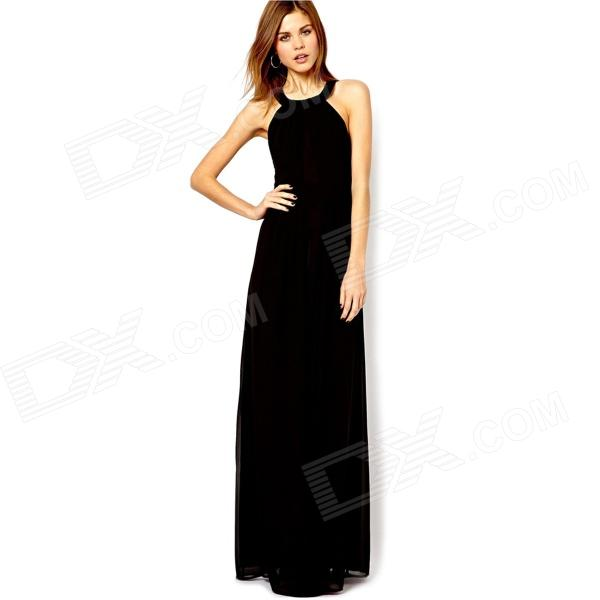 Stylish Sexy Chiffon Crossback Sleeveless Maxi Dress - Black (L)