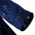 Women's Stylish Jacquard Weave Sunflower Pattern Lace Dress w/ Waist Belt - Blue (L)