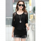 Stylish Women's Knitted Cotton + Lace Blouse w/ Batwing Sleeves - Black (L)