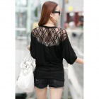 Women's Knitted Cotton + Lace Blouse w/ Batwing Sleeves - Black (L)
