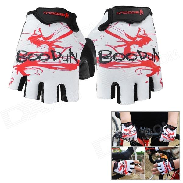 BOODUN 201200518 Lycra Patterned Half-Finger Cycling Gloves - White + Red (L / Pair)