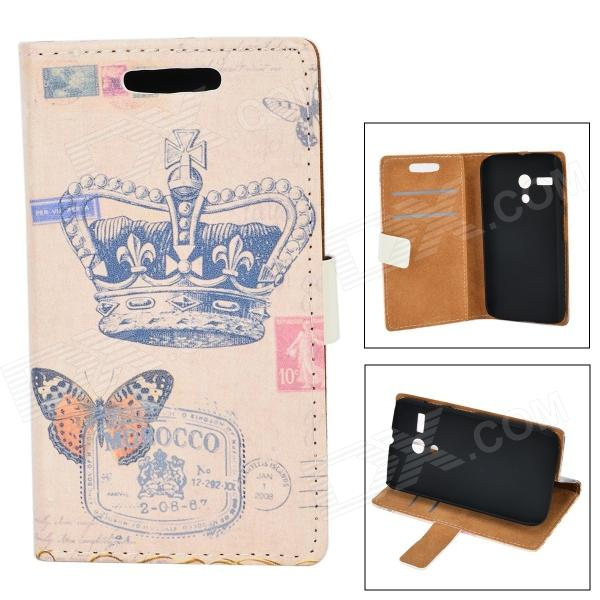 Crown Butterfly Pattern Protective PU Leather Case for Moto G