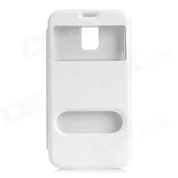 Protective PU Leather Case w/ Two Window for Samsung Galaxy S5 - White