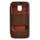 06 Protective PU Leather Case w/ Two Windows for Samsung Galaxy S5 - Dark Brown