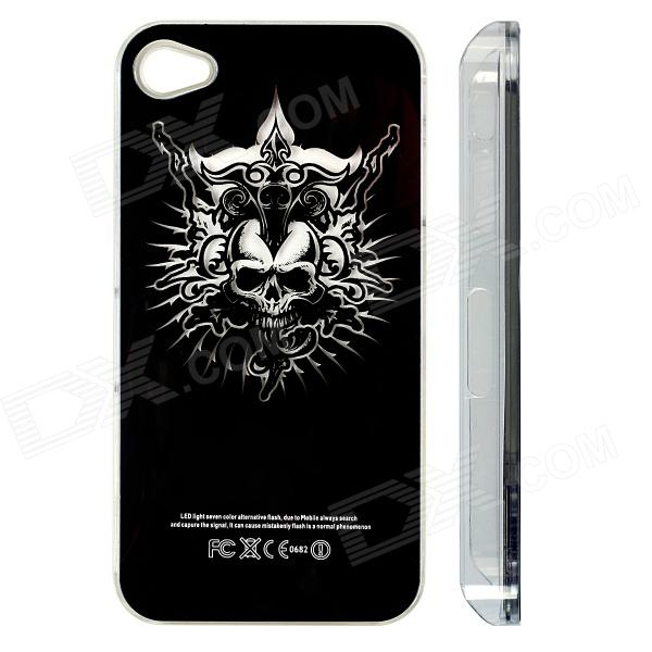 ZH01 Death Skull Pattern LED Flash Light Color Changing Protective ABS Back Case for IPHONE 4 / 4S zh01 good luck dragon pattern led flash light color changing protective back case for iphone 4 4s