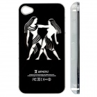 ZH01 Gemini Pattern LED Flash Light Protective ABS Back Case for IPHONE 4 / 4S - Black