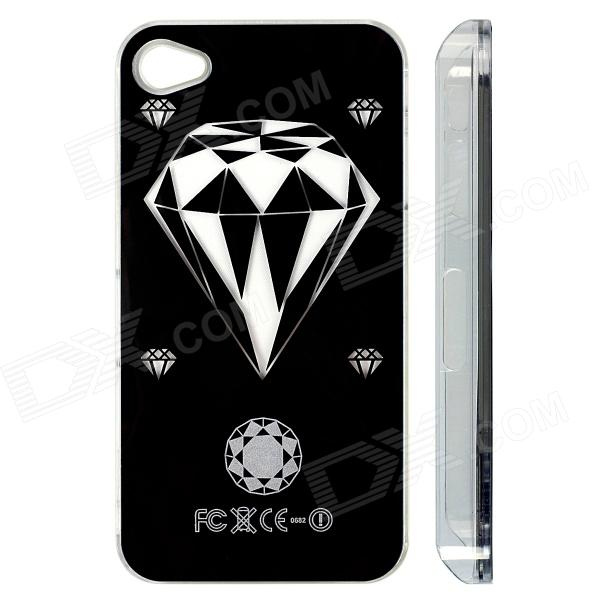 ZH01 Diamond Pattern LED Flash Light Protective ABS Back Case for IPHONE 4 / 4S - Black карабин black diamond black diamond rocklock twistlock