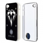 ZH01 Diamond Pattern LED Flash Light Protective ABS Back Case for IPHONE 4 / 4S - Black