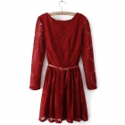 Women's Stylish Jacquard Weave Sunflower Pattern Lace Dress - Claret Red (L)