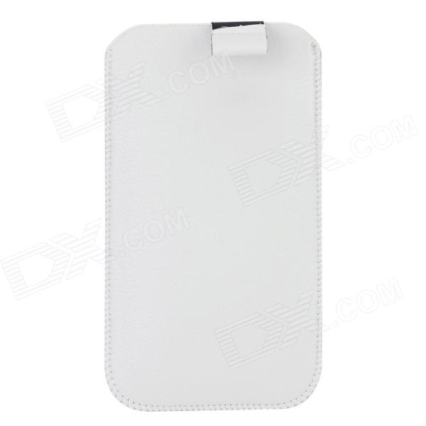 Lichee Pattern Protective PU Leather Case for Samsung Galaxy S5 - White