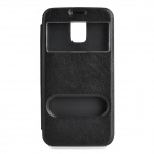 05 Protective PU Leather Case w/ Two Windows for Samsung Galaxy S5 - Black