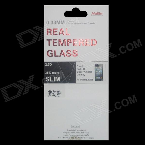 Mokin Tempered Glass Screen Protector Guard Film for iPhone 5 / 5S - Translucent Pink protective matte frosted screen protector film guard for nokia lumia 900 transparent