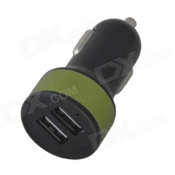 BSF-07A Creative Mini Dual USB Car Charger with Metal Color Circle for IPHONE / IPAD - Black + Green