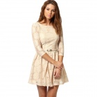 Sunflower Pattern Lace Half Sleeves Dress w/ Waist Belt - Beige (L)
