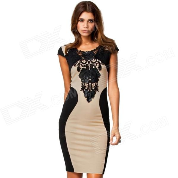 Cotton + Dacron Bodycon Backless Embroidered Short-sleeved Dress - Black + Off-White (L)