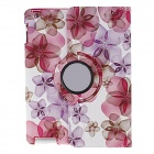 Kinston 360 Degree Rotation Peach Blossom Pattern PU Leather Case Cover Stand for IPAD 2 / 3 / 4