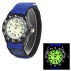 Men's Velcro Glow-in-the-Dark Analog Quartz Wrist Watch w/ Nylon Band - Black + Blue (1 x SR626SW)