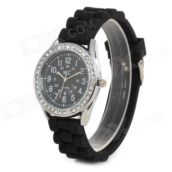 M752G Stylish Analog Quartz Wrist Watch w/ Silicone Band - Black (1 x SR626SW)