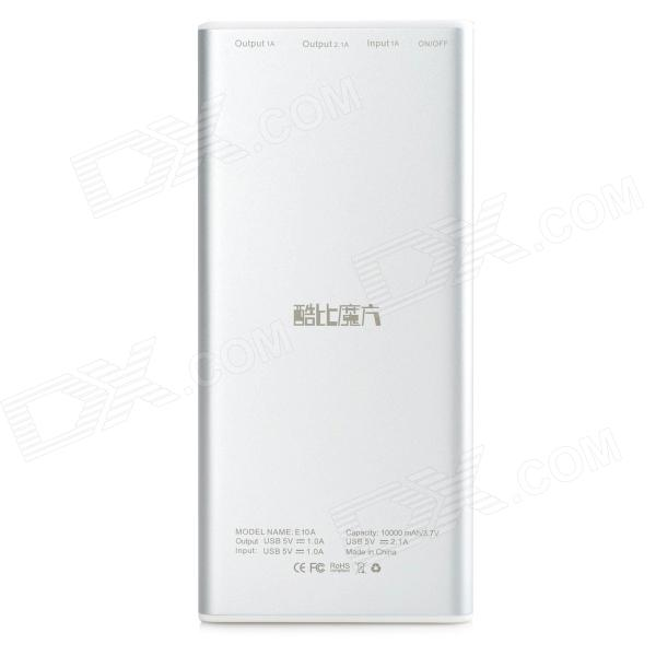 CUBE E10A 10000mAh Dual USB Mobile Power Bank - Silver Grey