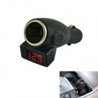 Kinrener C11 Car Cigarette Lighter Charger w/ 3-Digit Red LED Voltage Detector - Black (12~24V)