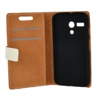 Stamps Building Pattern Protective PU + PC Case for Moto G - Beige + Black