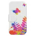 Kinston Painting Butterfly Drawing Pattern PU Leather Case Cover for Samsung Galaxy S4 i9500 - White