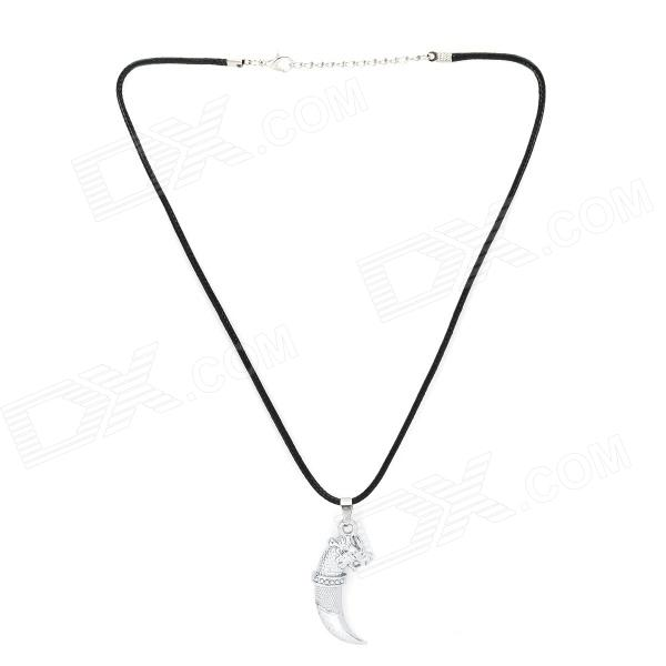 LYDZ001 Stylish Cool Zinc Alloy Wolf Tooth Style Pendant Necklace - Black + Silver