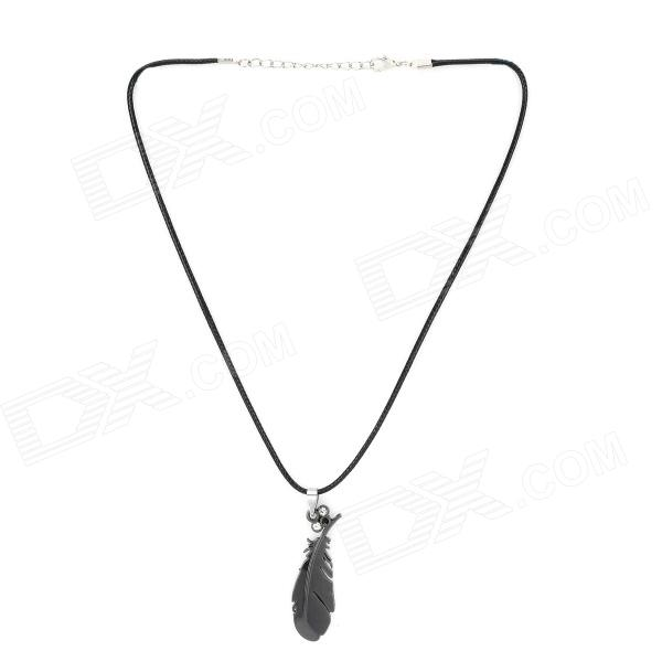 YMDZ001 Stylish Rhinestone Studded Feather Style Zinc Alloy Pendant Necklace - Black
