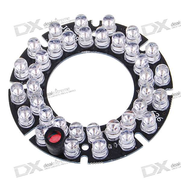 Infrared 36-LED Illuminator Board Plate for 6mm Lens CCTV Security Camera (DC 12V)