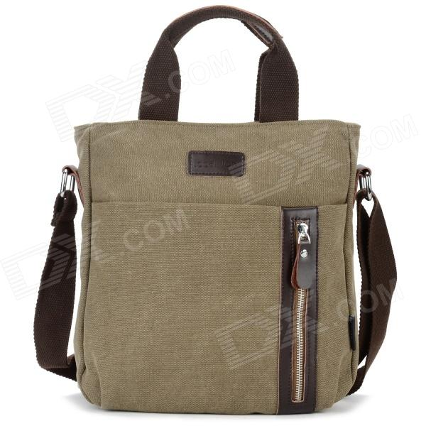 Locallion 1301 Casual Cotton Canvas Zipper Shoulder Messenger Bag for Men - Khaki