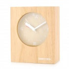 Geekcook GK1311004 Creative Rubber Wood Desk Clock - Yellowish Brown (1 x AA)