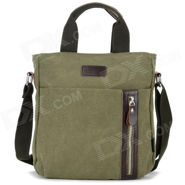 Locallion 1301 Casual Cotton Canvas Zipper Shoulder Messenger Bag for Men - Army Green