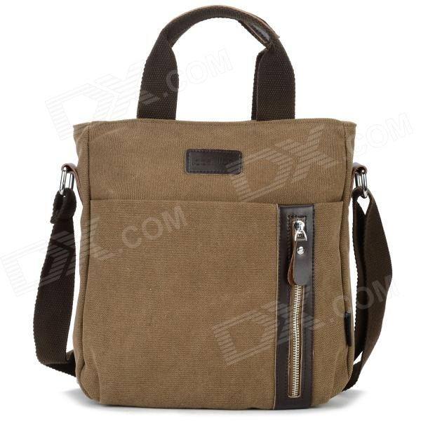 Locallion 1301 Casual Cotton Canvas Zipper Shoulder Messenger Bag for Men - Coffee