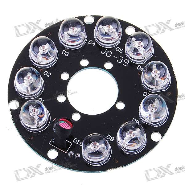 Infrared 10-LED Illuminator Board Plate for 4mm Lens CCTV Security Camera pro svet light mini par led 312 ir