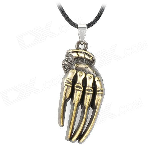 SGDZ001 Hide Rope Chain Hand Skeleton Style Zinc Alloy Pendant Necklace - Black + Antique Brass